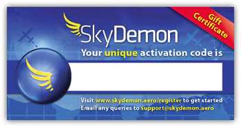 A SkyDemon subscription gift certificate